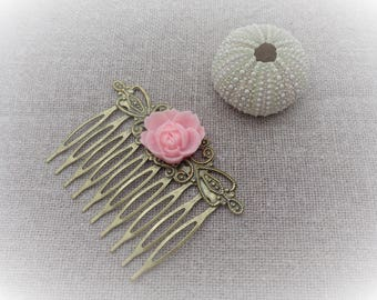 Bronze comb hair comb with pink rose in resin on brass hair comb