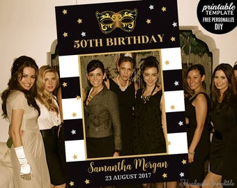 50th Birthday Photo Prop Template. Printable Gold Photo Prop Frame. Fifty and Fabulous Masquarade Silver Black Gold Photo Prop Booth.