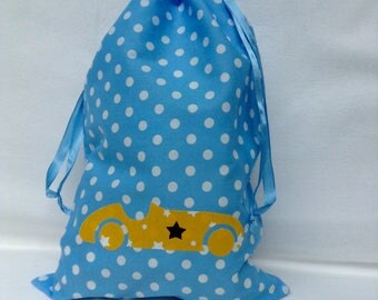 Pouch / bag toys / snack bag / diaper bag. Blue with polka dots, yellow car.