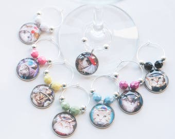 Wine Glass Charms, Cats in Hats, Funny Colourful Wine Charms, Set of 8