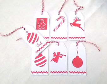6 Christmas red and white tags