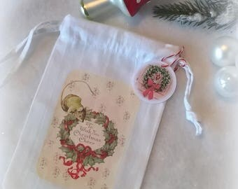Mini bag fabric Christmas pastel retro look Christmas Wreath mouse