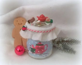 "Candle Christmas ""Christmas tea"" red teapot"