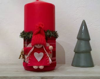 Red doll Christmas candle wood 15 cm