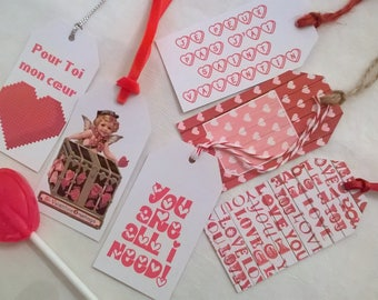 6 gift tags saint Valentine's day + lollipop heart available