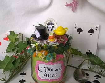 "Green candle ""Tea with Alice"" liberty and miniatures"
