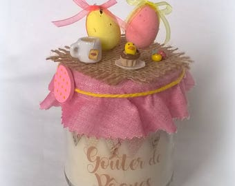 Background Easter tea rose candle