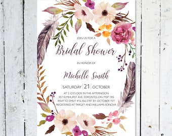 Bridal Shower Invitation, Boho Bridal Shower Invitation, Wreath, Floral, Watercolor, Fall, Maroon, Feather, Printable, Printed