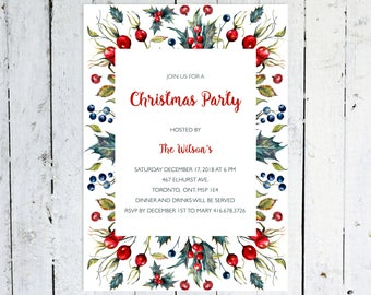 Christmas Party Invitation, Christmas Party, Classic, Berries, Holly, Printed, Printable, Red and Green, Christmas, Christmas Invitation