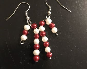 Beaded candy cane earrings
