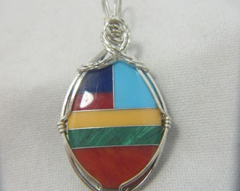 Multicolored, Multistone Cabochon,  Sterling Silver Wire Wrap Pendant, Native American Made, Cherokee Made #690