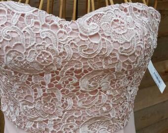 Blush Pink Sweetheart Strapless Chantilly Lace and Chiffon Dress