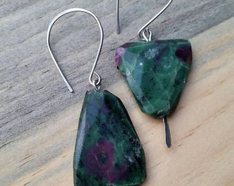 Zoisite with Ruby - Sterling Silver Dangle Earrings