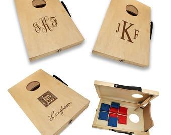Personalized Cornhole Game Set - Custom Bean Bag Toss Board - Monogram Bags Game - Family Lawn Game - Outdoor Game Set - Wedding Game