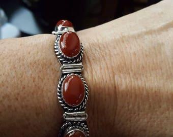 Carnelian Gemstone Bracelet- 9 inches!