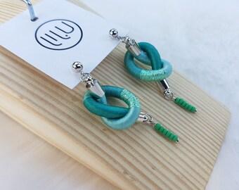Knotted Earrings / Rope Earrings / Small Knot Earrings / Boho Chic Earrings / Beads Earrings / Chic Dangle Earrings / Turquoise Earrrings