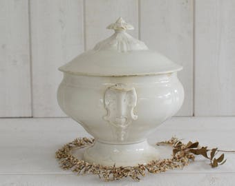 Antique French 19th  Ironstone tureen  stamped J.VIEILLARD BORDEAUX Jeanne d'Arc living shabby