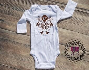 thanksgiving turkey monogram Bodysuit Infant  baby Unisex Cotton  t-shirt vinyl gobble holiday xmas personalized
