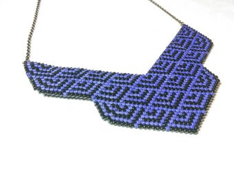 Bib HIMIKO, Japanese, blue and black and bronze beadwork