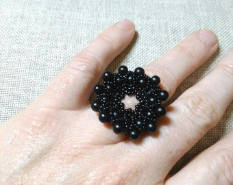 Ring BACK TO BLACK, Japanese beads