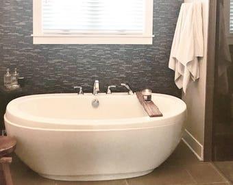 natural cut wooden bath tray