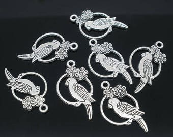 10 Antique Silver Parrot Charm/Pendants 28 x 16mm (B249a)