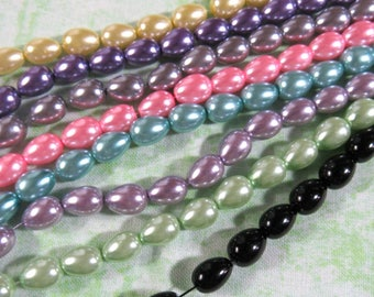 1 Strand Teardrop Glass Pearl Beads 9 x 6mm (B26)