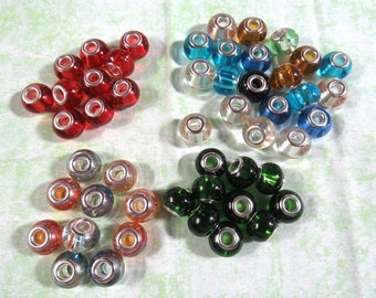 Transparent Glass Euro Beads (B456a-d)