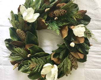 magnolia wreath fall and winter magnolia wreath with pinecones evergreens and white magnolia