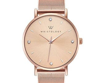 WRISTOLOGY Olivia Womens Crystal Boyfriend Watch Rose Gold Mesh Changeable Strap Band