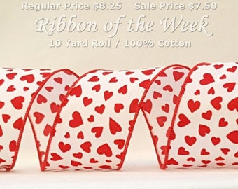 "10 Yards Wired Valentines Ribbon ~ 2.5"" White Cotton Ribbon with Red Scattered Hearts ~ 100% Cotton ~ Made in the USA ~ 10 Yards"