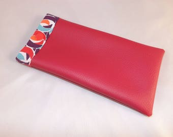 Glasses case in faux fuchsia pink and pink geometric cotton