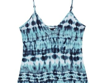 Tie Dye Blue Casual Top Tie-Dye Multicolored Top Camisole Soft Stretchy V-Neck V-Neckline Beachy Summer Beach Comfy Cozy Gift for Her