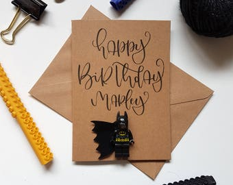 Happy birthday Anniversary batman superman thor spiderman ironman boys handlettered lego inspired birthday greeting personalised A6 card