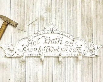 Rustic Bathroom Wall Decor - Towel Hook - Bathroom Towel Hooks - Bathroom Hooks - Towel Holder - Shabby Chic Bathroom Decor - Bathroom Sign