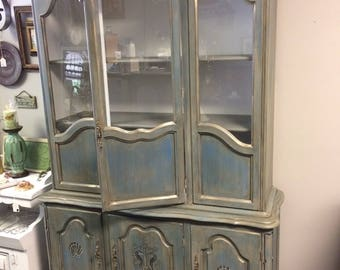 Handpainted vintage china cabinet