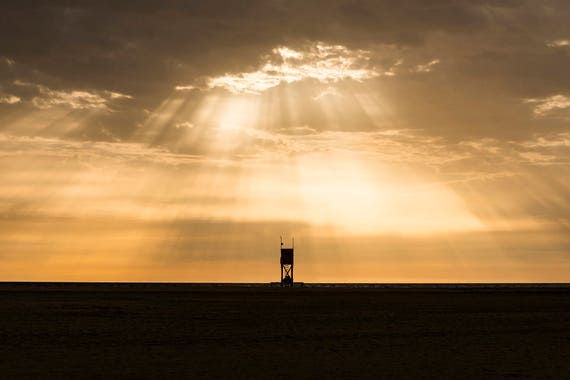 SUNBURST OVER TOWER. Beach Print, Fuerteventura, Canary Islands, Cloudscape, Limited Edition, Travel Photography