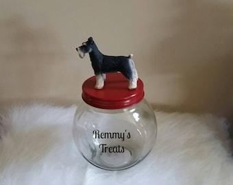 Schnauzer Dog Treat Jar, Personalized Dog Treat Storage Jar, Schnauzer Glass Jar with Name, Red, Silver or Gold Top