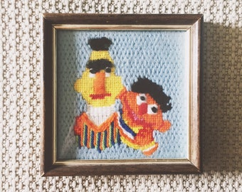 Bert and Ernie Embroidered Portrait