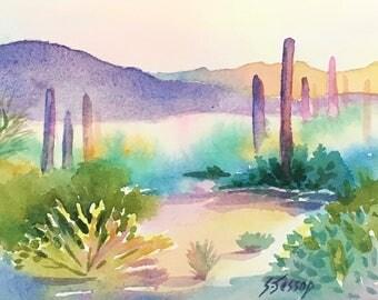 End of Day original desert watercolor Sandra Jessop