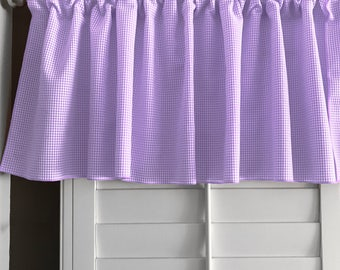 Micro Gingham Checker Plaid Window Valance 58 Inch Wide for Kitchen or Bedroom Windows Lavender
