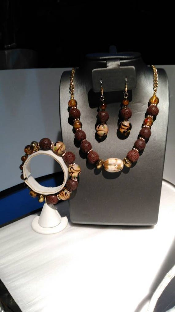 Lava rock into glass 3 piece jewelry suite