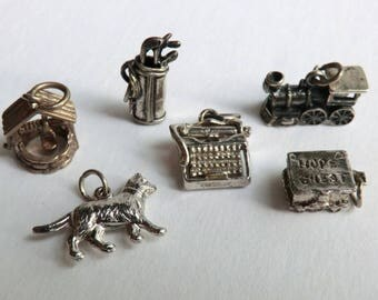 Vintage Sterling Charms Cat, Typewriter, Wishing Well, Golf Clubs, Hope Chest, Locomotive Choose 1 or More