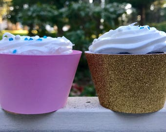 Pink & Gold Glitter Cupcake Wrapper, Custom Cupcake Wrapper, Standard Size Cupcake Wrappers, Custom Color Cupcake Wrappers