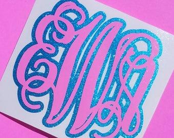 Cotton Candy Monogram Decal | Glitter Monogram Decal | Vine Monogram Decal | Car Monogram | Computer Monogram | Preppy Monogram