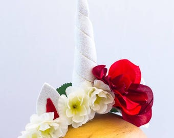 Unicorn horn flower crown headband - red and white