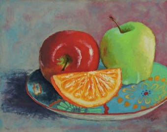 Two Apples Original Pastel Still Life Painting