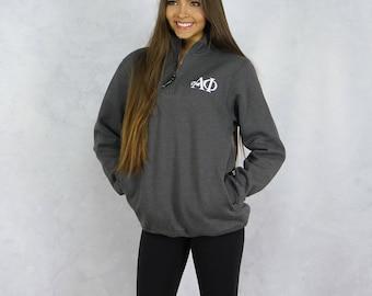 Alpha Phi Quarter Zip Sweatshirt in Gray