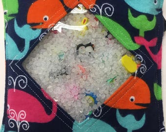 "Ocean Themed I Spy Bags, 6"" x 6"", 25 items, picture card, pocket,"