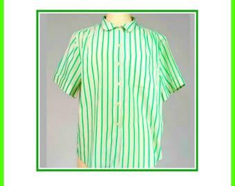 Short Sleeve Green Strips 80's Shirt